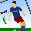 Soccer player poster. Vector illustration — Imagen vectorial