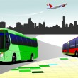 City panorama with two buses and plane images. Coach. Vector ill — Stock Vector