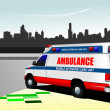 Modern ambulance van on city background. Colored vector illustra — Stock Vector