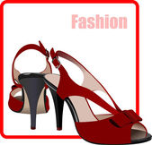 Fashion woman red shoes poster. Vector illustration — Stock Vector