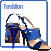 Fashion woman blue shoes poster. Vector illustration — 图库矢量图片