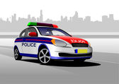 Police car on city panorama background. Vector illustration. — Stock Vector
