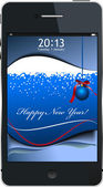 New Year concept mobile phone icon. Vector illustration — Vector de stock