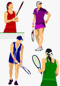 Collection of woman tennis players. Colored Vector illustration — Stock Vector