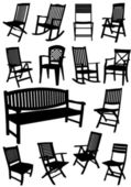 Collection of garden chairs and benches silhouettes. Vector illu — Stock Vector
