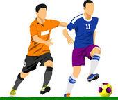 Soccer player poster. Vector illustration — Stock Vector