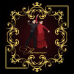 Beautiful young couple dancing flamenco poster. Vector illustrat — Stock Vector #34195663