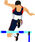 Illustration of a track and field athlete running jumping the hu — Stock Vector