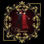 Beautiful young couple dancing flamenco poster. Vector illustrat — Stock Vector