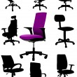 Big set Illustrations of office chairs isolated on white backgro — Stock Vector