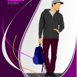 Young man with bag. Vector illustration — Stock Vector