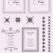 Collection of ornate vintage vector frames with sample text and  — Vettoriali Stock