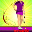 Woman tennis player. Colored Vector illustration for designers — Stock Vector