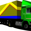 Green  truck. Lorry. Trailer. Vector illustration — Vettoriali Stock