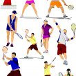 Big collection of tennis player silhouettes. Vector illustration — Imagen vectorial