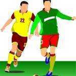 Soccer player poster. Football player. Vector illustration — Stock Vector