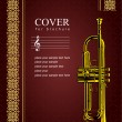 Cover for brochure with trumpet images. — Stock Vector
