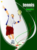 Tennis player poster. Colored Vector illustration — Stock vektor