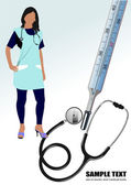 Medical nurse stethoscope and thermometer. Vector illustration — Stock Vector