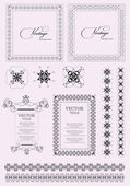 Collection of ornate vintage vector frames with sample text and — Stock Vector