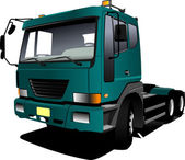 Green truck. Lorry. Trailer. Vector illustration — Stock vektor