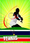Woman tennis player poster. Vector illustration for designers — Stock vektor