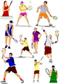 Big collection of tennis player silhouettes. Vector illustration — Vettoriale Stock