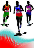 The running man. Track and field. Vector illustration — Vector de stock