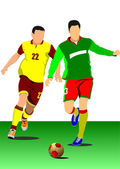 Soccer player poster. Football player. Vector illustration — Vecteur