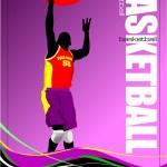 Basketball player poster. Vector illustration — Stock Vector