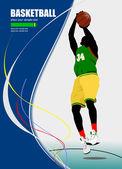 Basket playe affisch. vektor illustration — Stockvektor