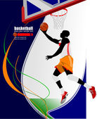 Basketball players poster. Vector illustration — Vector de stock