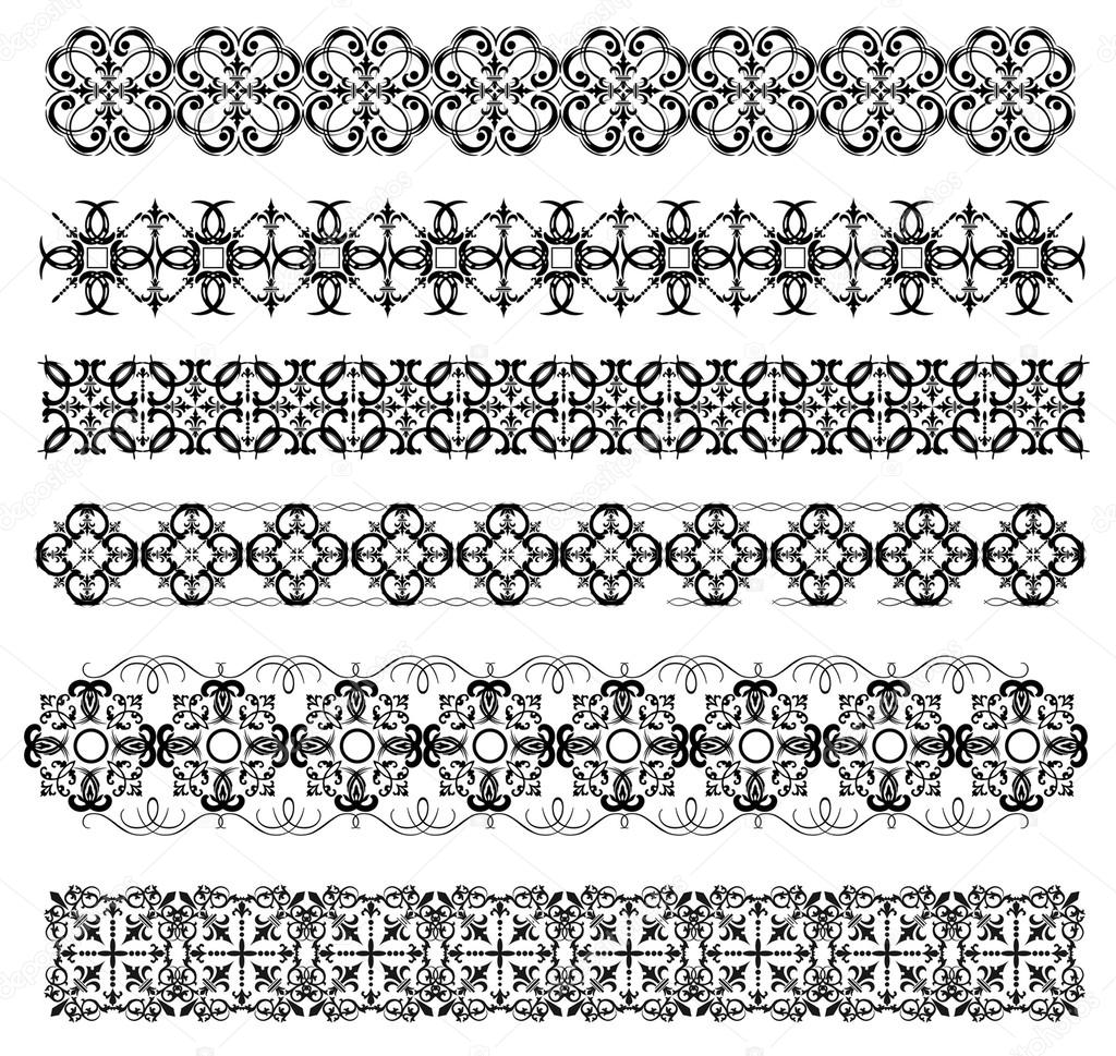 Collection Of Ornamental Rule Lines In Different Design