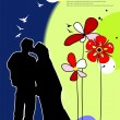Kissing Couple vector illustration — Stockvectorbeeld