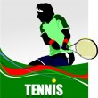 Man Tennis player poster. Colored Vector illustration for design — Stock Vector