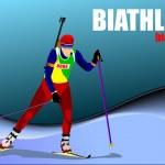 Biathlon runner colored silhouettes. Vector illustration — Stock Vector