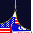 Zipper open USA flag with desk calendar image. Vector illustrati — Vettoriali Stock