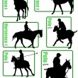 Big collection of horse silhouettes. Vector illustration — Stock Vector