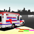 Stock Vector: Modern ambulance van on city background. Colored vector illustra