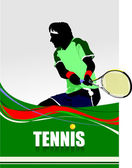 Man Tennis player poster. Colored Vector illustration for design — 图库矢量图片