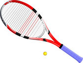 Isolated image of a tennis racket and ball. Vector illustration. — Stock Vector
