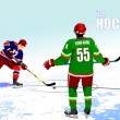 Постер, плакат: Ice hockey players poster Colored Vector illustration for desig