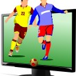 Background with Flat computer monitor with soccer player image.  — Stock Vector