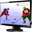Background with Flat computer monitor with hockey players image. — Stock Vector