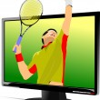 Background with Flat computer monitor with tennis player image. — Stock Vector