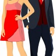 Gentleman and lady. Couple. Pair. Vector illustration — Stock Vector
