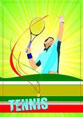 Man Tennis player poster. Colored Vector illustration for design — Vector de stock