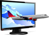 Flat computer monitor with plane image. Display. Vector illustra — Stock vektor