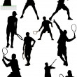 Big collection of tennis player silhouettes. Vector illustration — Stock Vector #34511911