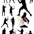 Big collection of tennis player silhouettes. Vector illustration — Grafika wektorowa